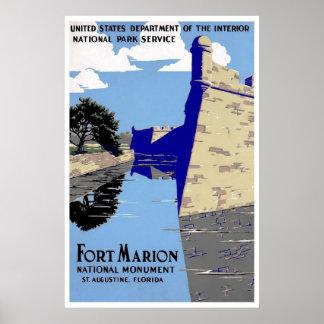 城砦のマリオンの国有記念物セント・オーガスチンフロリダ ポスター