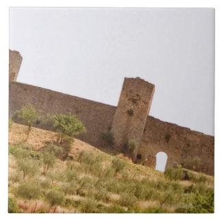 城砦の低い角度眺め、Monteriggioni、シエナ タイル