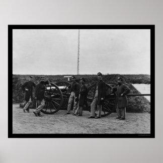 城砦Totten 1865年のマサチューセッツ砲員 ポスター