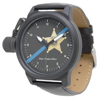 執行官代理薄いブルーライン腕時計 腕時計