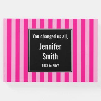 基本的で、ストライプのなピンクの記憶ゲストブック ゲストブック