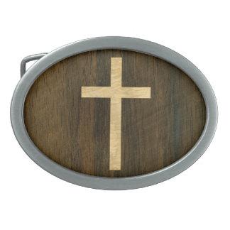 基本的なキリスト教の十字の木のベニヤのかえでのシタン 卵形バックル