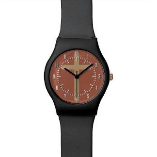 基本的なキリスト教の十字の金比率錆ついたブラウン 腕時計