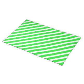 基本的なストライプ1の緑 ランチョンマット