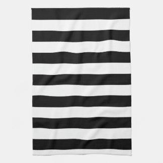 基本的な白黒ストライプ キッチンタオル