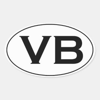 基本的な白黒VB Virginia Beachの楕円形のロゴ 楕円形シール