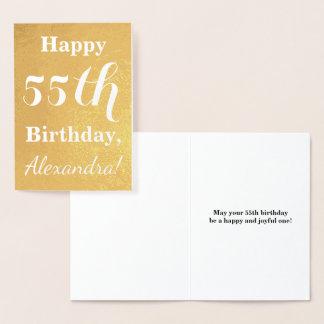 基本的な金ゴールドホイルの第55誕生日 + 名前をカスタムする 箔カード