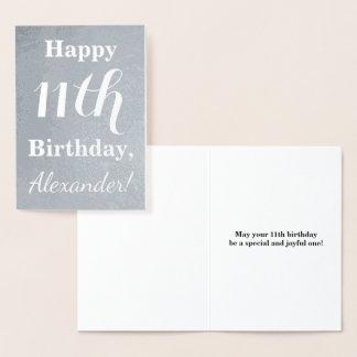 基本的な銀ぱくの第11誕生日 + 名前をカスタムする 箔カード