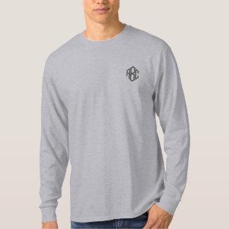 基本的な長袖の灰色のモノグラム 刺繍入り長袖Tシャツ