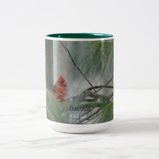 基本的な鳥、冬、常緑樹 ツートーンマグカップ