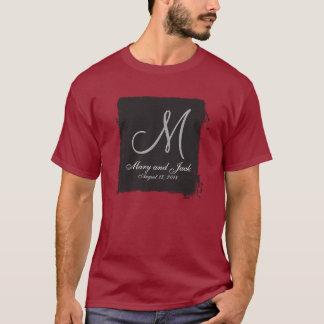 基本的な黒3dのモノグラム tシャツ