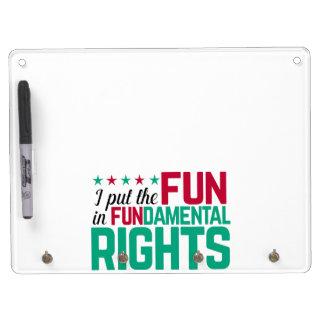 基本的権利 キーホルダーフック付きホワイトボード
