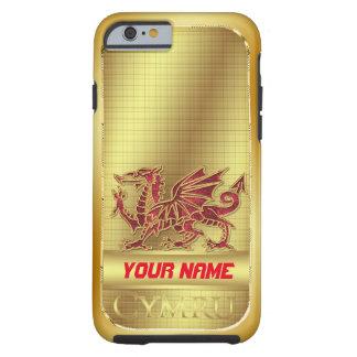 堅いウェールズの金効果および赤いドラゴンのiPhone 6 ケース