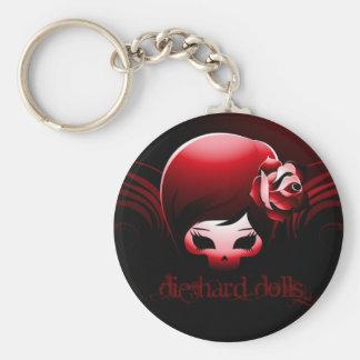 堅い人形のキーホルダーの黒のロゴは死にます キーホルダー