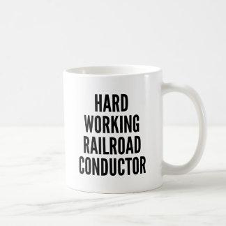 堅い働く鉄道コンダクター コーヒーマグカップ