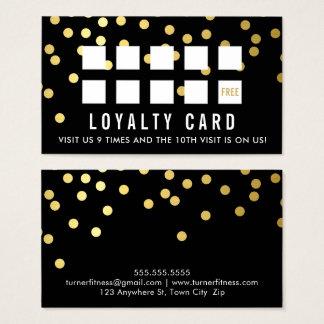 報酬のロイヤリティカード魅力的な紙吹雪の金ゴールドの黒 名刺