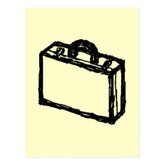 場合のスケッチ。 黒およびクリーム。 スーツケース、ブリーフケース ポストカード