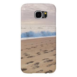 場合: ビーチの波および足跡 SAMSUNG GALAXY S6 ケース