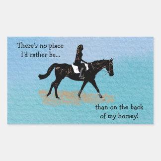 場所私はむしろ-乗馬の馬ではないです 長方形シール