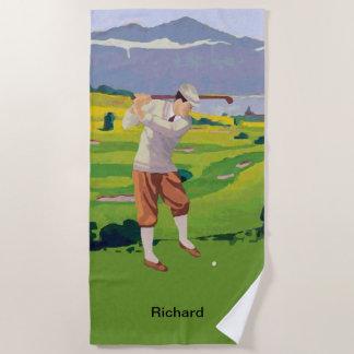 場面をゴルフをする名前入りなヴィンテージのスタイルの高地 ビーチタオル