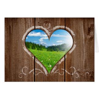 塀のバレンタインデーカードのハートの結び目 カード