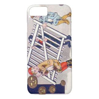 塀ハロウィーンのカボチャのちょうちんを盗んでいる子供 iPhone 8/7ケース