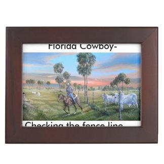 塀ラインを点検しているフロリダのカウボーイ ジュエリーボックス