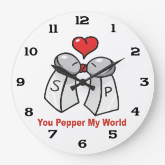 塩nのコショウのシェーカーのバレンタイン ラージ壁時計