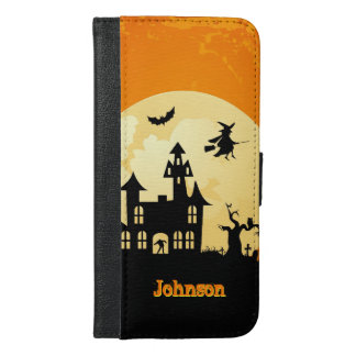 墓地のハロウィンの月光のお化け屋敷 iPhone 6/6S PLUS ウォレットケース