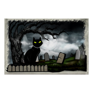 墓地のハロウィンの民芸を神聖化します ポスター
