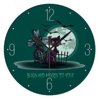 墓地、こうもり、月のハロウィン猫 ラージ壁時計