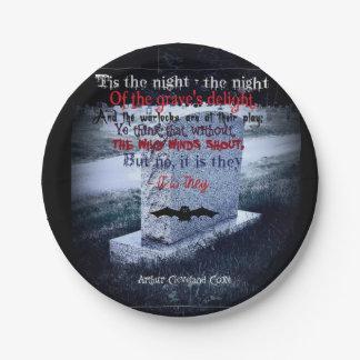墓石のハロウィンのカスタムな紙皿7つ ペーパープレート