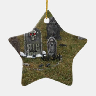 墓碑が付いているハロウィンの重要なヤード セラミックオーナメント