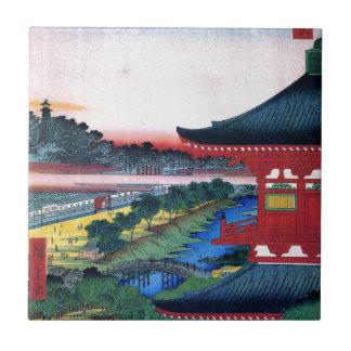 増上寺、広重の赤い寺院、Hiroshige、Ukiyo-e タイル
