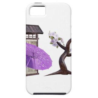 壁および桜が付いている桜の人形 iPhone SE/5/5s ケース