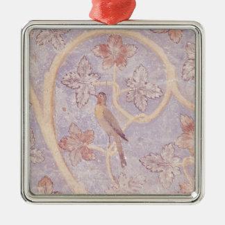 壁の装飾からの鳥の詳細、 シルバーカラー正方形オーナメント