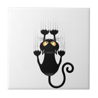 壁を傷付けるおもしろいな黒猫の漫画 タイル