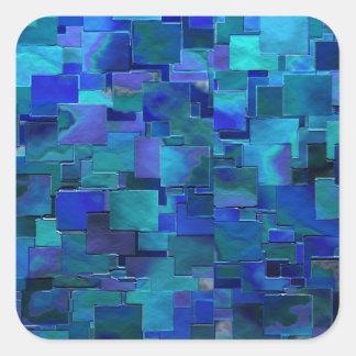 """""""壁""""の青い抽象美術絵を描いて下さい スクエアシール"""