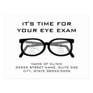 壊れたガラス製の義眼の検査のアポイントメントのメモ ポストカード