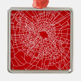 壊れたガラス赤 メタルオーナメント