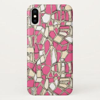 壊れたポップ・アートのなピンク iPhone X ケース