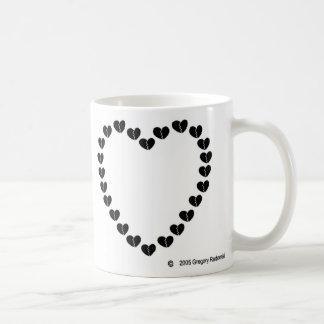 壊れた心があるハート コーヒーマグカップ