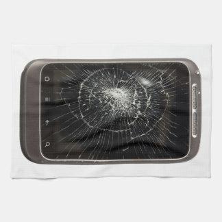 壊れた携帯電話 タオル