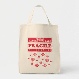 壊れやすい千年は心配の雪片と、扱います トートバッグ