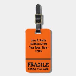 壊れやすい、オレンジ心配と扱って下さい ラゲッジタグ
