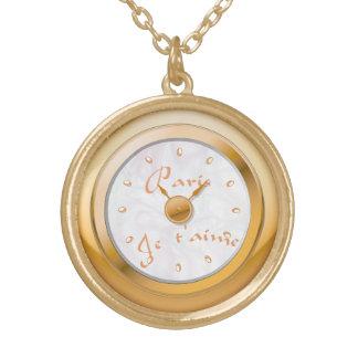 壊中時計のエレガントなヴィンテージのパリのjeのt'aime ゴールドプレートネックレス