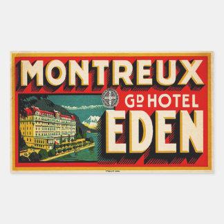 壮大なホテルエデン(モントルーフランス) 長方形シール
