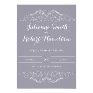 壮大な夜会|の薄紫灰色の結婚RSVPのカード 8.9 X 12.7 インビテーションカード