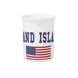壮大な島米国の旗 ピッチャー