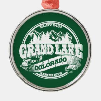 壮大な湖の古い円の緑 メタルオーナメント